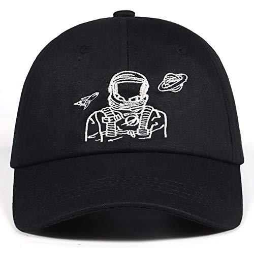 Explorer 100% Baumwolle (Yosrab Baseballmützen Astronaut Spaceman Embroidery Explorer 100% Baumwolle Hysteresenhüte Golf Black Hat Bone)