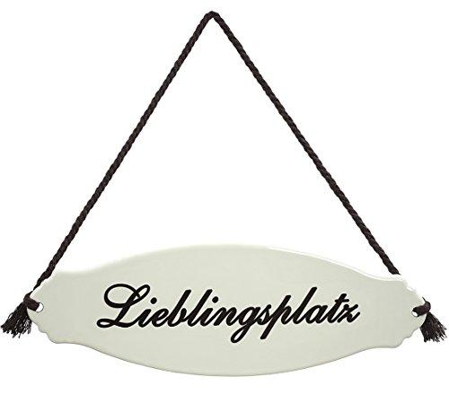 Dehner Gartenschild \'Lieblingsplatz\', ca. 30.5 x 10.5 x 0.3 cm, Stahl, weiß/beige