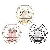 Wanfor 3D Geometrischer Kerzenhalter aus Metall für Hochzeit, Heimdekoration, 3 Farben, Eisen, Gold, Einheitsgröße - 6