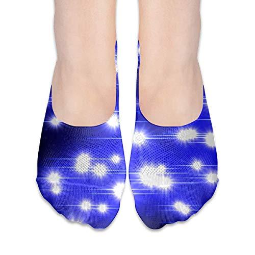 jiilwkie Sparkling Glowing Twinkle Stars Suits Women's Anti-Slip Boat Socks,Unique Casual Thin Polyester Cotton Low Cut Socks,Hidden Flat Boat Liner -