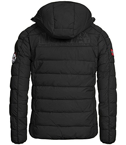 Geographical Norway Herren Steppjacke Beckham mit abnehmbarer Kapuze Black