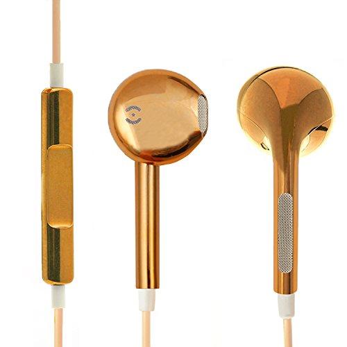 Preisvergleich Produktbild iprotect Ear Kopfhörer in metallic Gold - Headset mit Mikro,  Rufannahme und Volume Remote für alle Modelle wie z.B. Sony,  Samsung,  LG,  Huawei,  HTC,  uvm. / Sport Kopfhörer / Ohrhörer