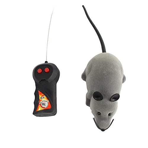 Control remoto inalámbrico novedad y divertido juguete RC Rata Ratón para Gatos Perros Animales domésticos Kid (gris)