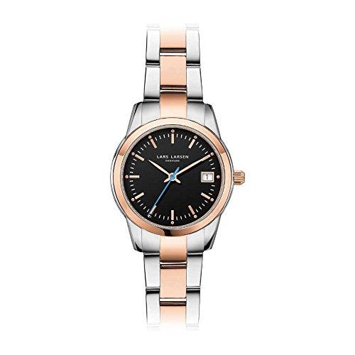 Lars Larsen 123RBRB Women's Stainless Steel Rose Gold Case Black Dial Quartz Watch