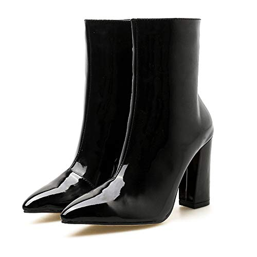 Vovotrade ♁ Stivali di Pelle Scamosciata con Tacco Alto, Stivali con Plateau in Pelle Lucida Boots Stivali da Donna con Zip Laterali a Punta