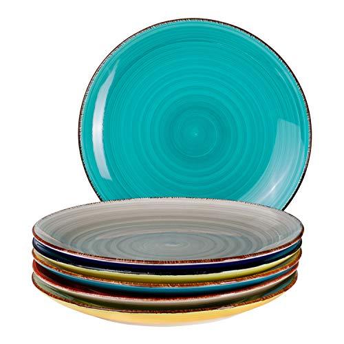 6-TLG. Speisetellerset Malaga Bunte Servier-Teller handbemalt zweifarbig Ø 27cm Essteller Rundteller flach Porzellan-Geschirr Buffet-Platten Bicolor Buffet Platte