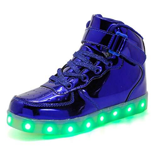 Kids Light Up Schuhe USB Charging Luminous Flashing Schuhe High-Top-Sneaker aus PU-Leder mit Klettverschluss Geeignet für Kinder zwischen 7 und 12 Jahren und zwischen 13 und 16 Jahren