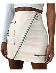 063e74bd5e HCFKJ Mujer Invierno Ropa Elegante Sexy Casual Retro Alta Cintura Cuero  Pintura Zip LáPiz Flaco Delgado