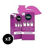 Logic Pro - Goût Fruit Rouge & Menthe - 3 Packs de 3 cartouches d'e-liquide – Sans Nicotine Ni Tabac – Utilisation exclusive avec la Cigarette Electronique Logic Pro (vendue séparément)