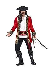 SMIFFYS Costume Curves Capitano dei Pirati, Rosso, con Giacca, Camicia e Fusciacca in VI