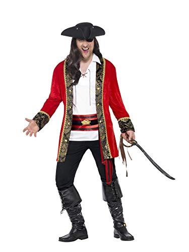 Smiffys 24464XL - Herren Piraten Kostüm, Größe: XL, rot
