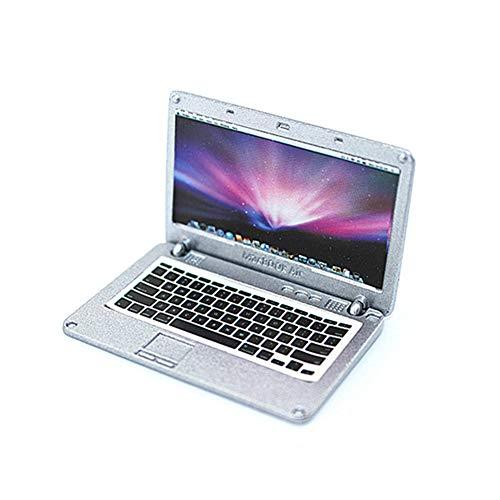 ben Miniatur-Laptop nettes Minipuppenhaus Dekoration Zubehör Notebook mit Apple-Logo und Bildschirm (Silber) ()