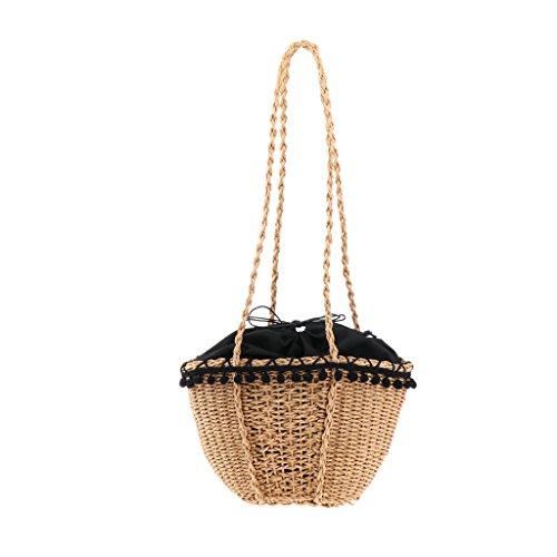 D DOLITY Damen Strand Handtasche Stroh Schultertasche Strandtasche Korbtasche für Sommer