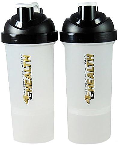 Protein Shakers compartiment de poudre noire + double 4G Health