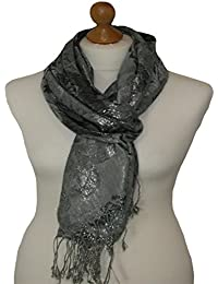 GREY scarf with all over butterfly print design 826 (BUTTERFLY PRINT GREY)