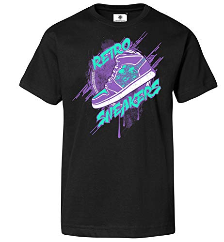 Customized by S.O.S Herren T-Shirt Retro Sneakers (S, Schwarz) -