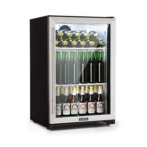 Klarstein Beersafe Pro Barkühlschrank • Backbar • Getränkekühlschrank • Gewerbekühlschrank • 133 Liter • 2 Metall-Einlegeböden • selbstschließende Tür • 0 bis 22 °C • Glastür • Edelstahlfront -