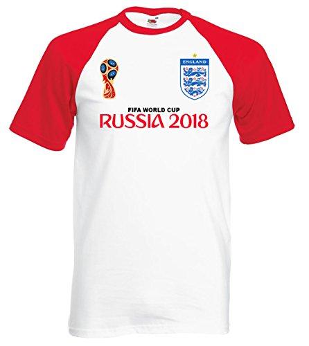 World Cup 2018 T-Shirt Base Ball Style Ringer England Football Fan Tee Shirt