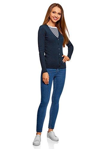 oodji Collection Damen Strickjacke Gerippt Blau (7900N)