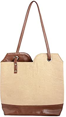 Fable Folks Women's Shoulder Bag Off-White and Brown FF014