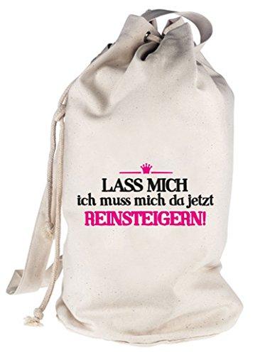 Shirtstreet24, Reinsteigern, bedruckter Seesack Umhängetasche Schultertasche Beutel Bag Natur