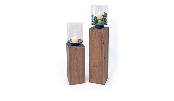 Saule Vintage Holzsockel 90 Cm Windlicht Altholz Glasaufsatz