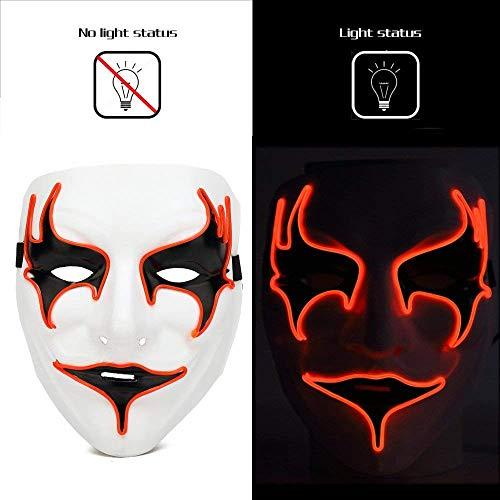 (LED Halloween Masken,Saingace Mode führte Party Halloween Neon leuchtenden Draht glühende Geist Schädel Licht Maske Für Festival,Cosplay,Halloween,Kostüm,Batterie Angetrieben)