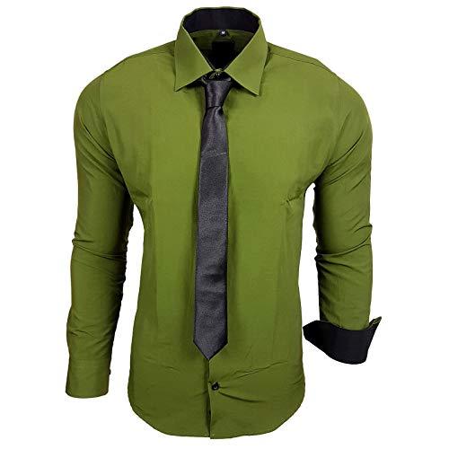Rusty Neal Rusty Neal 44-KR Herren Kontrast Hemd Business Hemden mit Krawatte Hochzeit Freizeit Fit, Größe:S, Farbe:Khaki