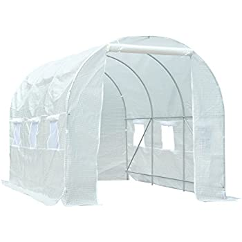 Superworth 5M X 2M Fully Galvanised Steel Frame Poly Tunnel Greenhouse Pollytunnel Tunnel 10 m/² Area 2M Height 8 Windows 2 Doors 4 Sections