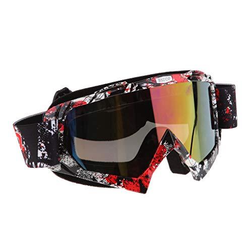Homyl 1 Stück Winddichte Brille UV400 Schutz mit Verstellbares Gummiband und Helm Kopf und Gesichtsbedeckungen - A018 Farbspiegel