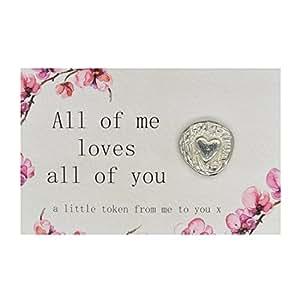 Kiwi Porte Bonheur Petit Coeur All of Me Loves All of You (Je T'Aime De Tout Mon Cœur), Fabrication Française en Etain France.