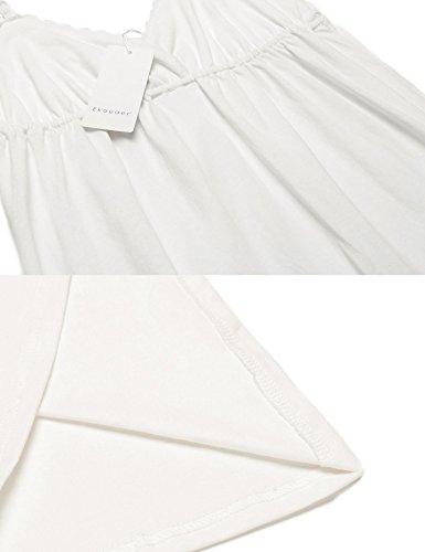 Ekouaer Damen Nachthemd V Ausschnitt Baumwolle Schlafkleid Träger Spitze NegligeeLang Still Pyjama Retro Schwarz/Weiß/Rosa/Grau/Blau S-XXL stil 1:Weiß
