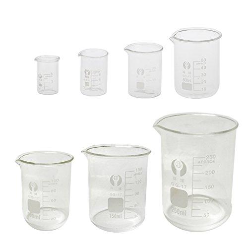 FITYLE 7pcs Glas Labor Messbecher - 5 ml, 10 ml, 25 ml, 50 ml, 100 ml, 150 ml, 250 ml