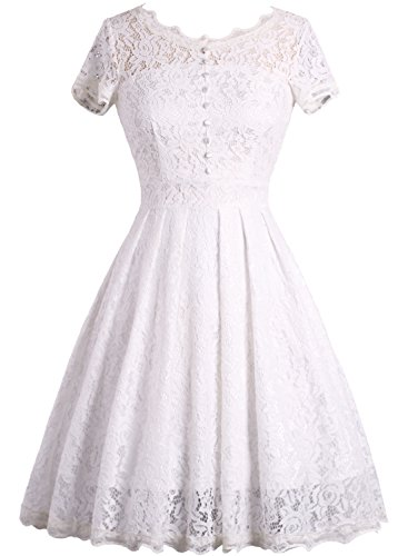 IHOT Women's Vintage 1950s Cap Sleeve Floral Lace A Line Shirt Swing Party Dress