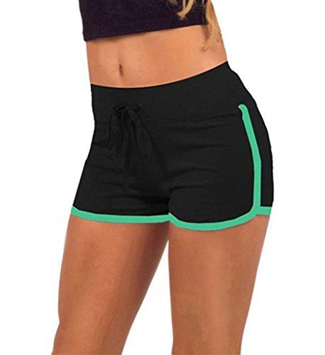 Minetom Damen Mini Shorts Active Wear Sports Shorts Elastische Taille Lose Beiläufige Bequem Klettern Running Home Yoga Shorts Hose Schwarz-Grün EU L (Damen Shorts Active)