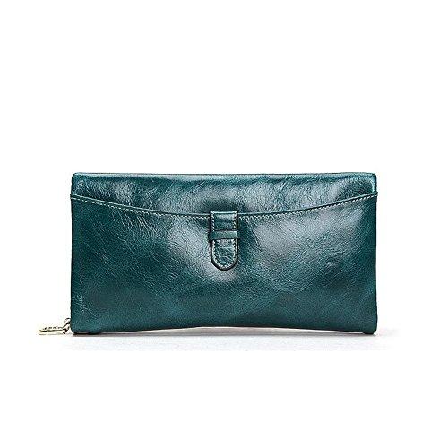 Grande capacità lusso Portafoglio da donna in pelle, borse-Portafogli con portamonete e porta carte di credito e tasca con Pocket Verde