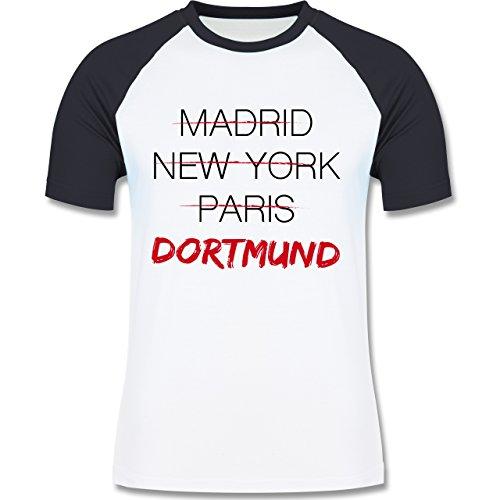 Städte - Weltstadt Dortmund - zweifarbiges Baseballshirt für Männer Weiß/Navy Blau