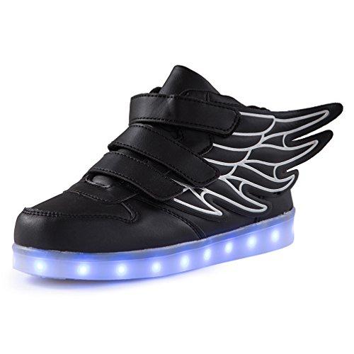 AFFINEST Kinder Jungen Mädchen LED Light Up leuchtet Schuhe Sneakers for kids mit USB einem Geschenk der Weihnachten Neujahr(schwarz,28)