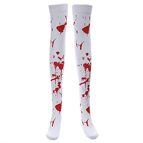 SimpleLife Halloween Over-Kniehohe Socken Bloody Printing Polyester Kleid Party Kostüm