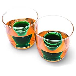 CKB Ltd® Pack of 2 Bomb Shots Shooter Set - Verres à liqueur Fun Party Drinking Novelty Two chamber Bomb Shot Glasses - Holds 25ml measure of spirit & 150ml of beer or Soft Drink