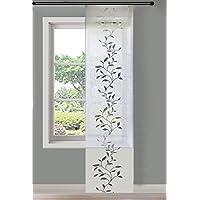 Gardinenbox Moderner Flächenvorhang Schiebegardine Tendril aus hochwertigem Ausbrenner-Stoff mit Klettband, 245x60 (HxB), Weiß, 85611