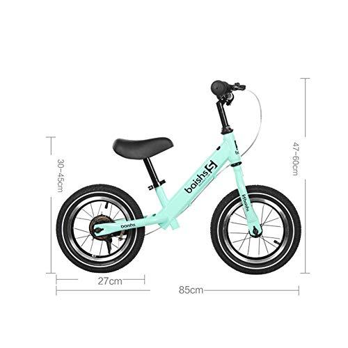 1-1 Balance Fahrrad Kinder, Lernlaufrad Lufträder Ohne Pedale Verstellbarer Leicht Balance Bikes Handbremse,Green