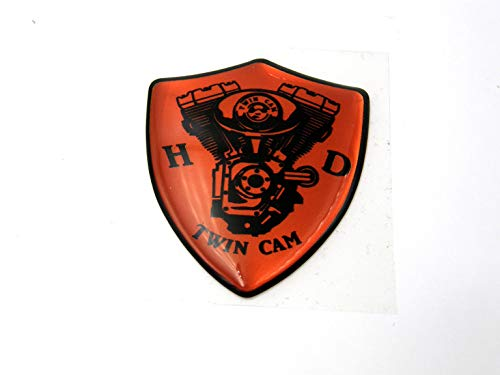 3D Doming Aufkleber Wappen Twin Cam (Orange) (Twin Cam Suzuki)