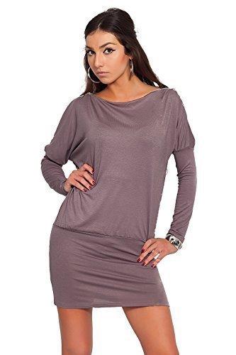 Futuro Fashion Glamour Femmes Mini Robe avec fermeture éclair sur épaule Jersey Manche Longue Tunique Tailles 8-18 UK 8440 Cappuccino