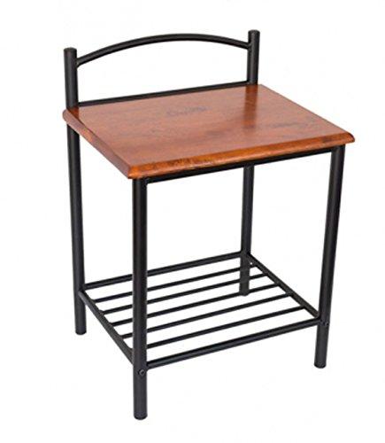 PEGANE Table de chevet ST60 en bois brun et pieds en métal noir, Dim: H64 x L45 x P35 cm