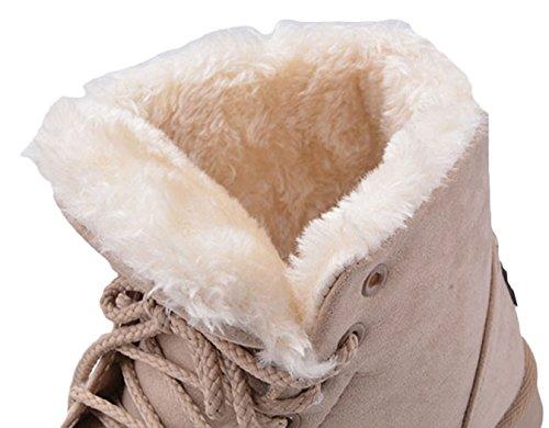 MEXI Frauen Casual Pelz gef¨¹ttert Martin Stiefel Ankle Schnee Stiefel Schuhe Khaki
