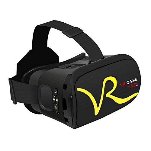 VR 3D Brille Virtual Reality Gläser mit Bluetooth Touch-Funktion Ein Gerät Blu-ray Augenschutz Headset Brillen Virtual Reality Handy 3D Filme 3D IMAX (Schwarz + Gelb)