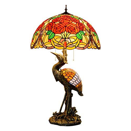 Bluetooth altavoz Hombre del estilo de Tiffany lámpara de escritorio de la grúa, 50CM rosa magnífica pantalla de cristal, luz de la noche conveniente for el sitio Decorar lámpara de mesa cubierta Acce