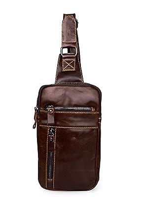 Everdoss Hommes sac de poitrine en cuir sac de messager sac à bandoulière sac banane sacoche sac de sport sac de loisirs
