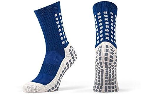 Rutschfeste Fußball-Socken, rutschfeste Sport-Socken, mit Gummi-Noppen, im trusox-/tocksox-Stil, hohe Qualität, für Basketball, Fußball, Wandern, Laufen, erhältlich in weiß, schwarz, rot, blau Blau blau UK 5.5 - 11